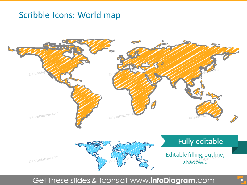 World map illustrated in scribble style