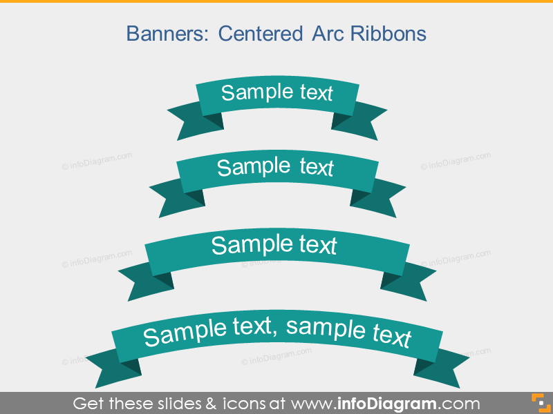Arc Ribbon Flat Banner Infographic Title PowerPoint icon