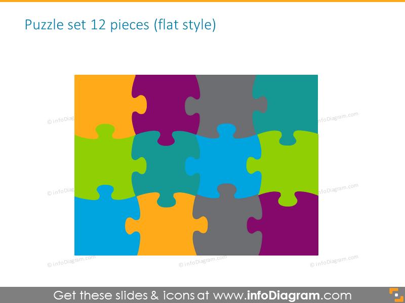 puzzle diagrams parts gradient clipart 12 pieces