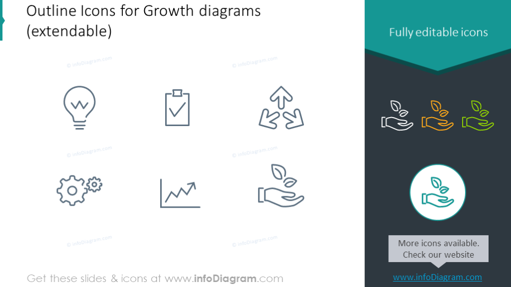 Example of the growth diagram icons set
