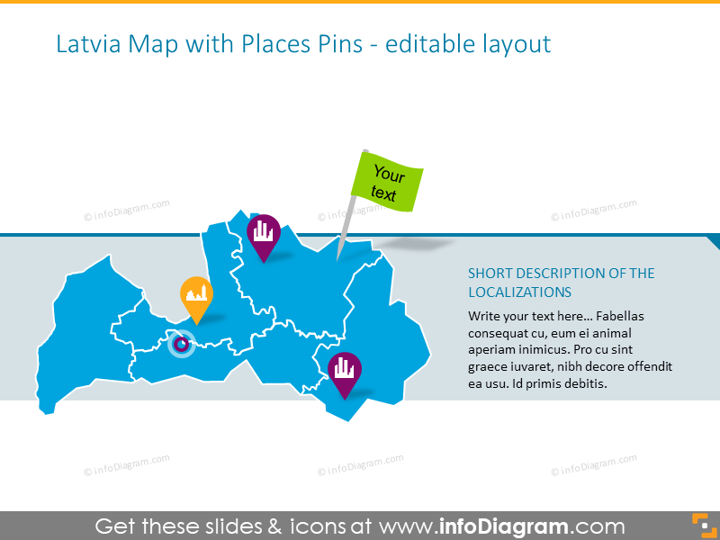 Latvia map illustrated with places pins