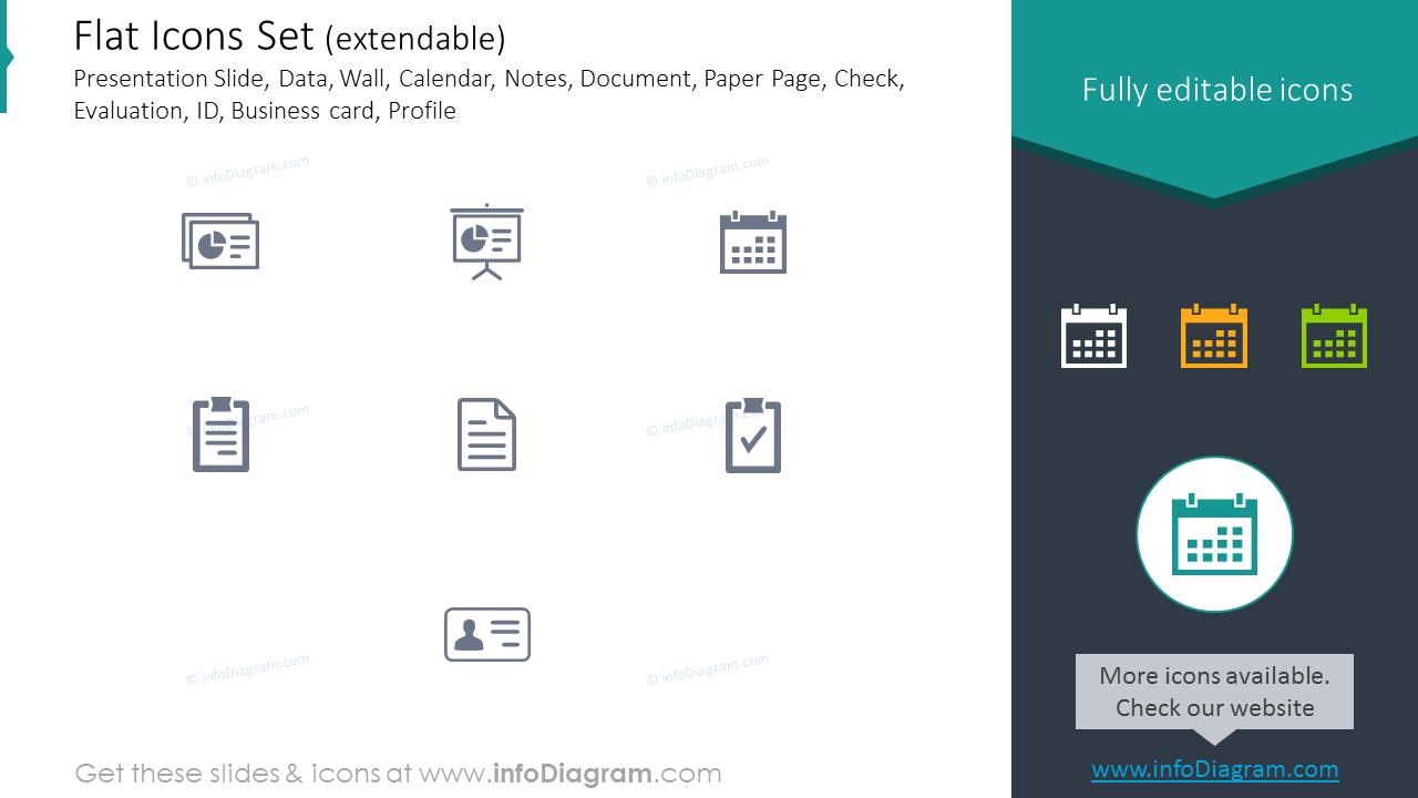 Icons Set: Presentation Slide, Paper Page, Check, Evaluation, ID, Profile