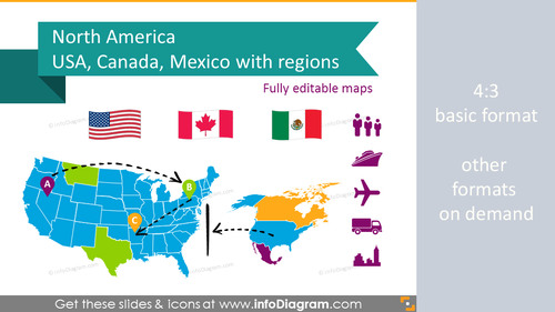 Map of Canada and US. North America. Mexico. Population and GDP