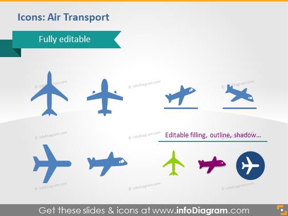 Air plane flights transport icons powerpoint clip art