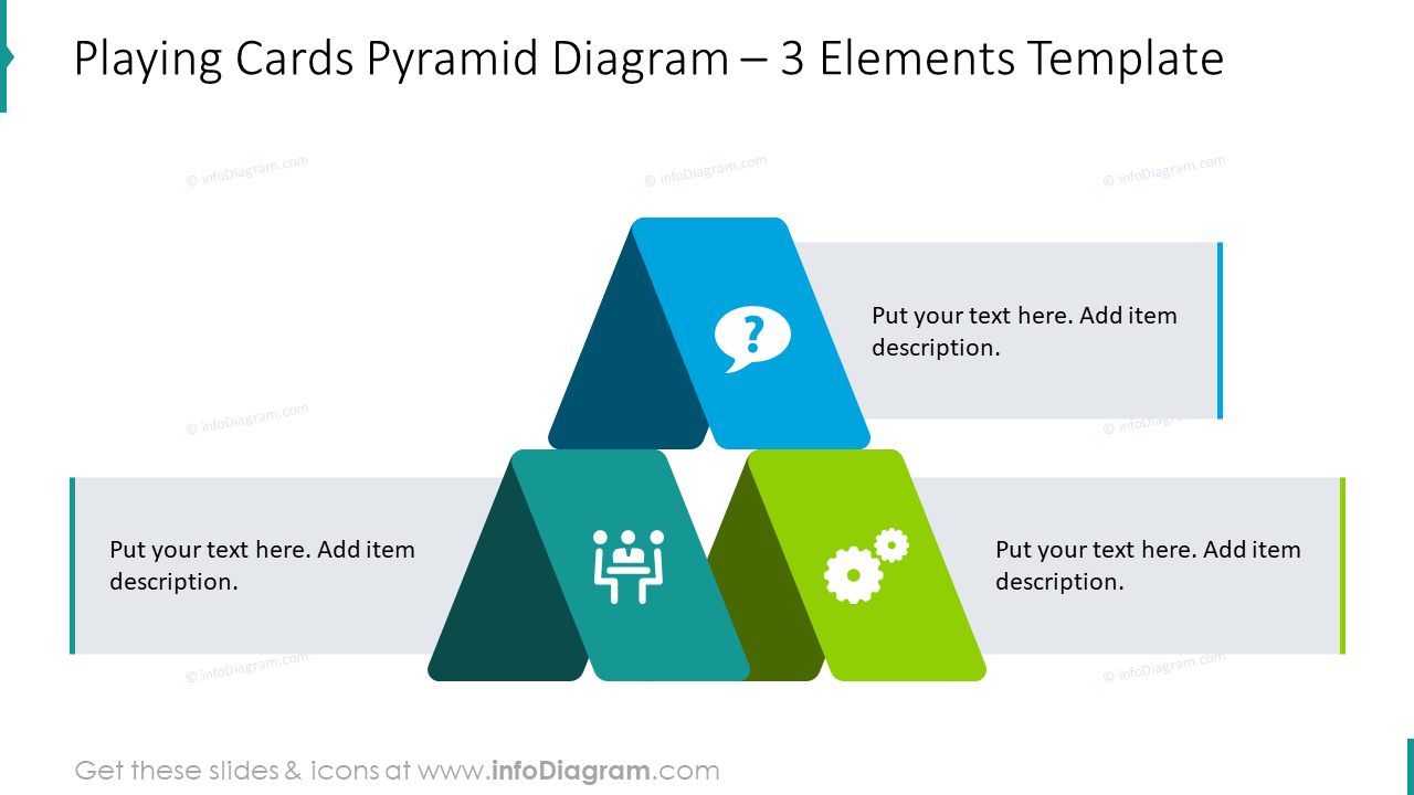 Playing cards pyramid diagram for 3 items