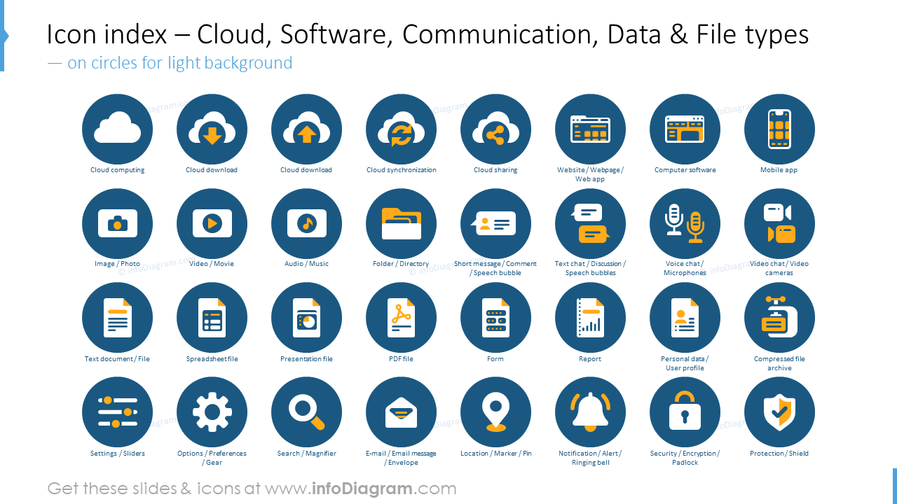 Icon index: cloud, software, communication, data