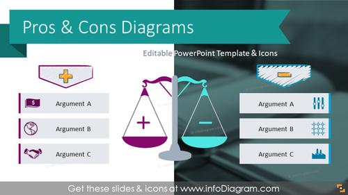 Pros & Cons Diagrams Comparison Charts (PPT Template)