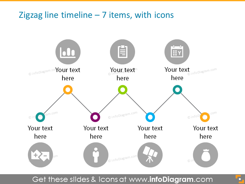 Zigzag line timeline for 7 elements with icons