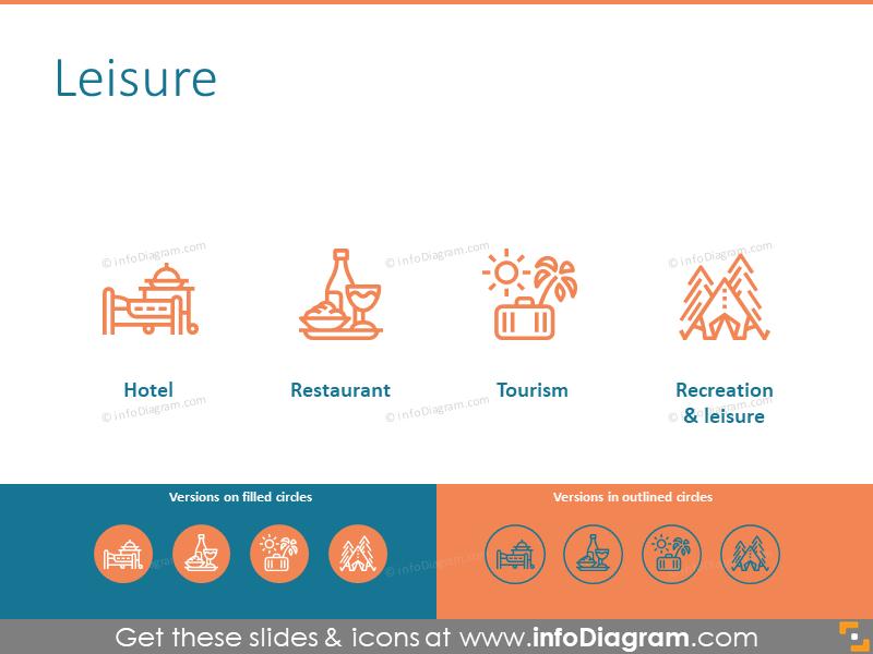 Leisure: hotel, restaurant, tourism, recreation pictograms