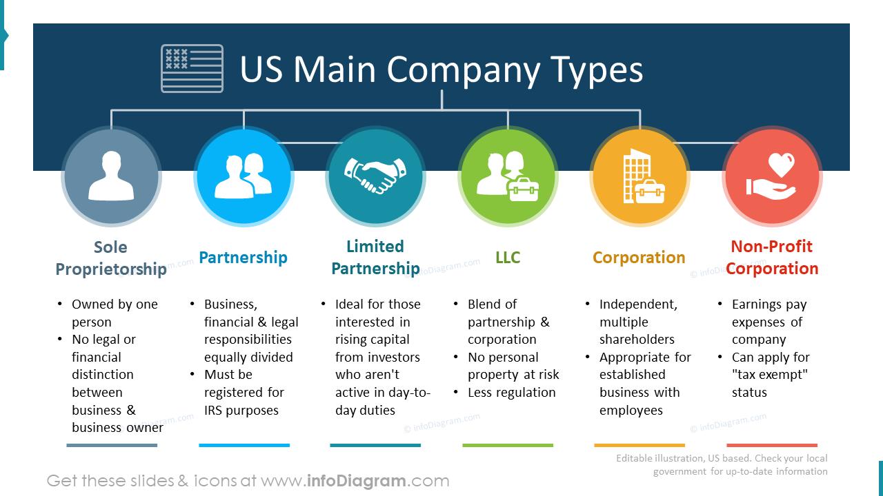 USA main company types flowchart