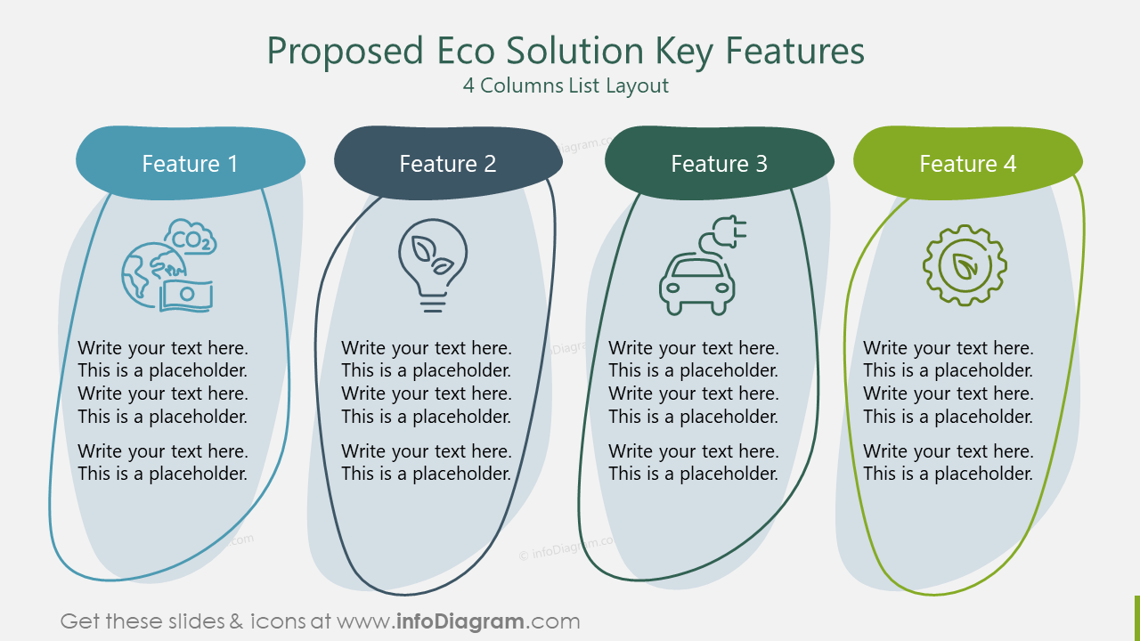 Proposed Eco Solution Key Features 4 Columns List Layout