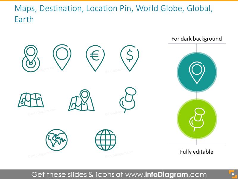 Maps, Destination, Location Pin, World Globe, Global, Earth