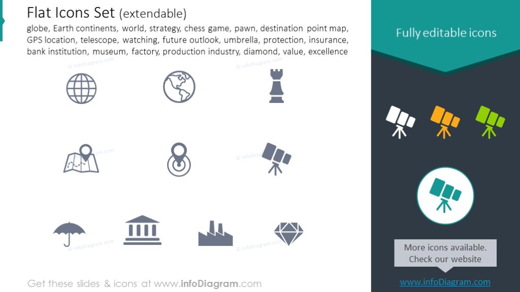 Icons Set: world, strategy, pawn, telescope, watching, insurance, value