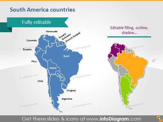 South America maps countries powerpoint Brazil Chile