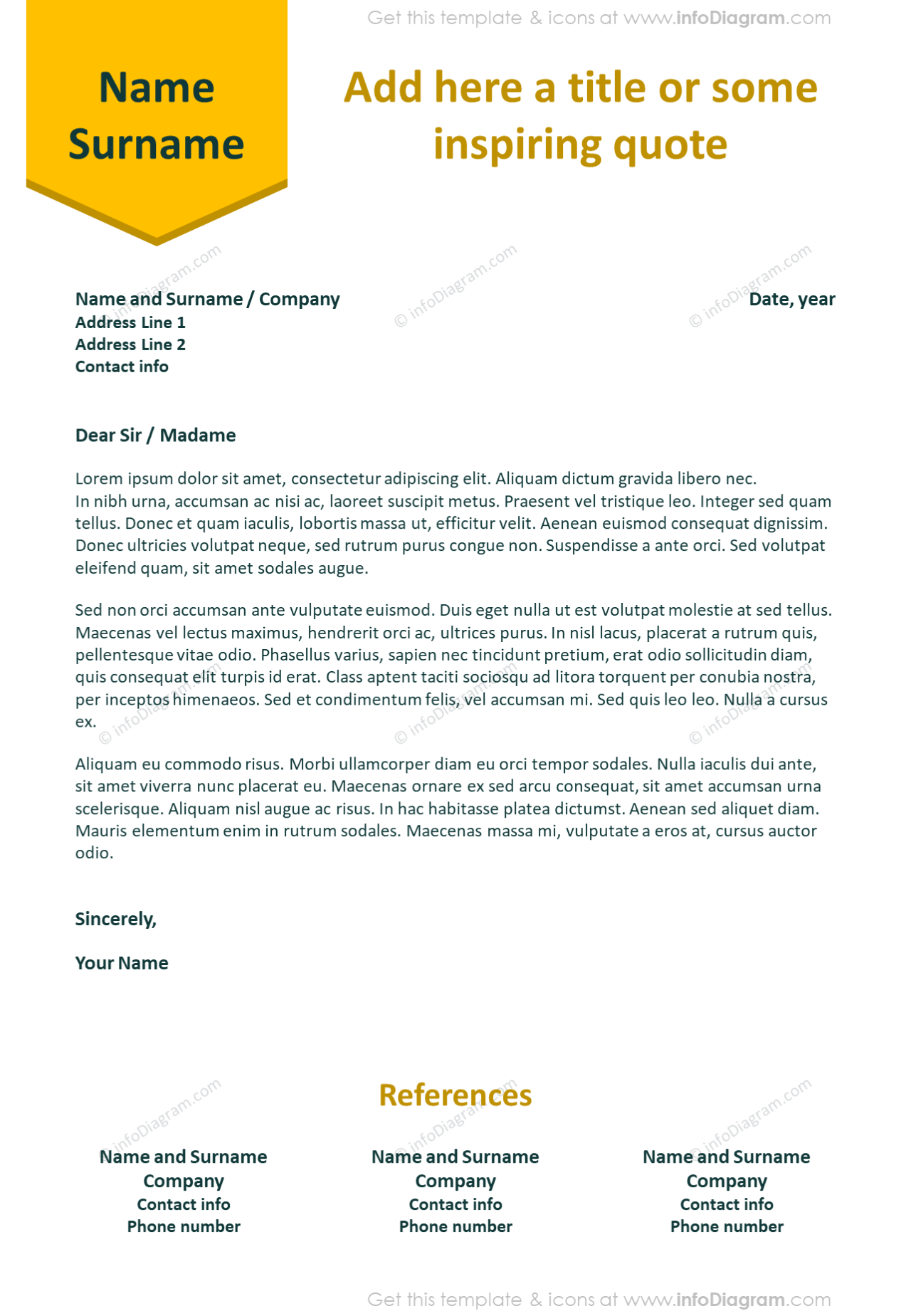 Vivid bookmark stripe visual cover letter template with references