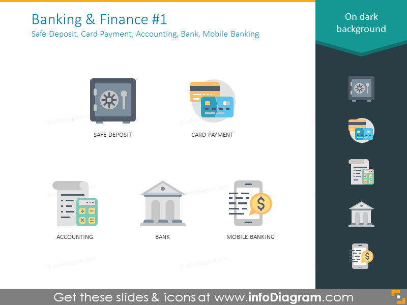Safe deposit, card payment, accounting, bank, mobile bank icons