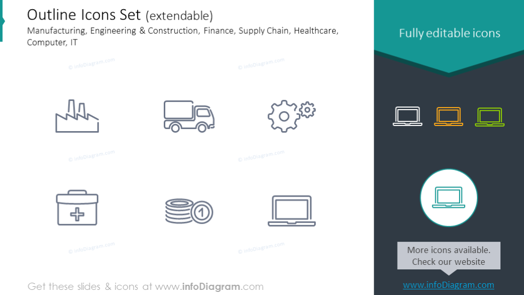 Outline Icons: Manufacturing, Construction, Healthcare, Computer, IT