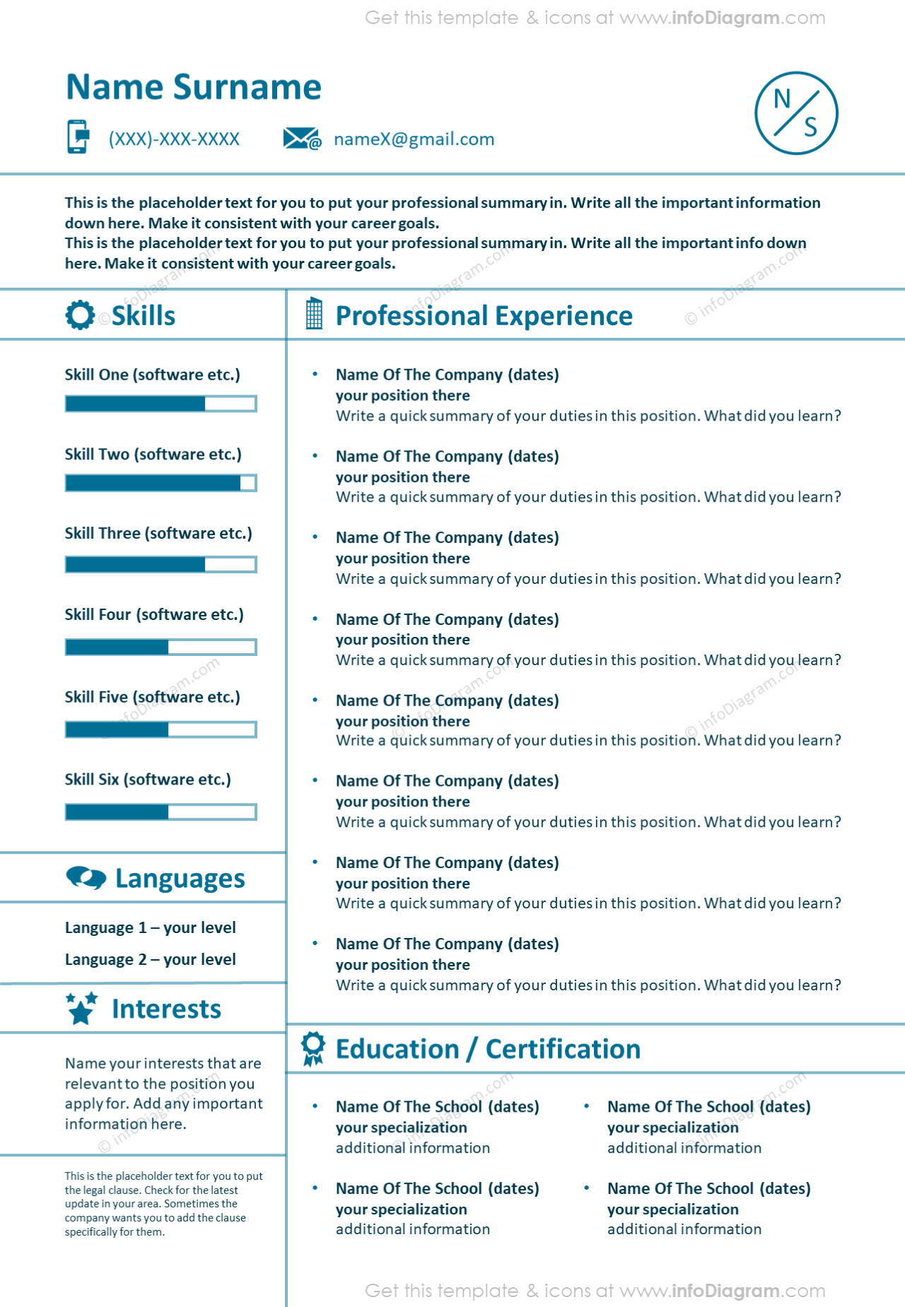 Light lines professional experience CV depicted with graphical one page