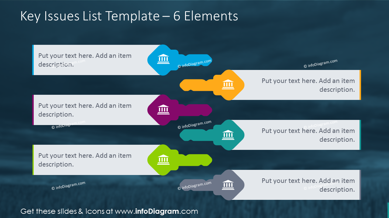 6 elements key template to show issues list