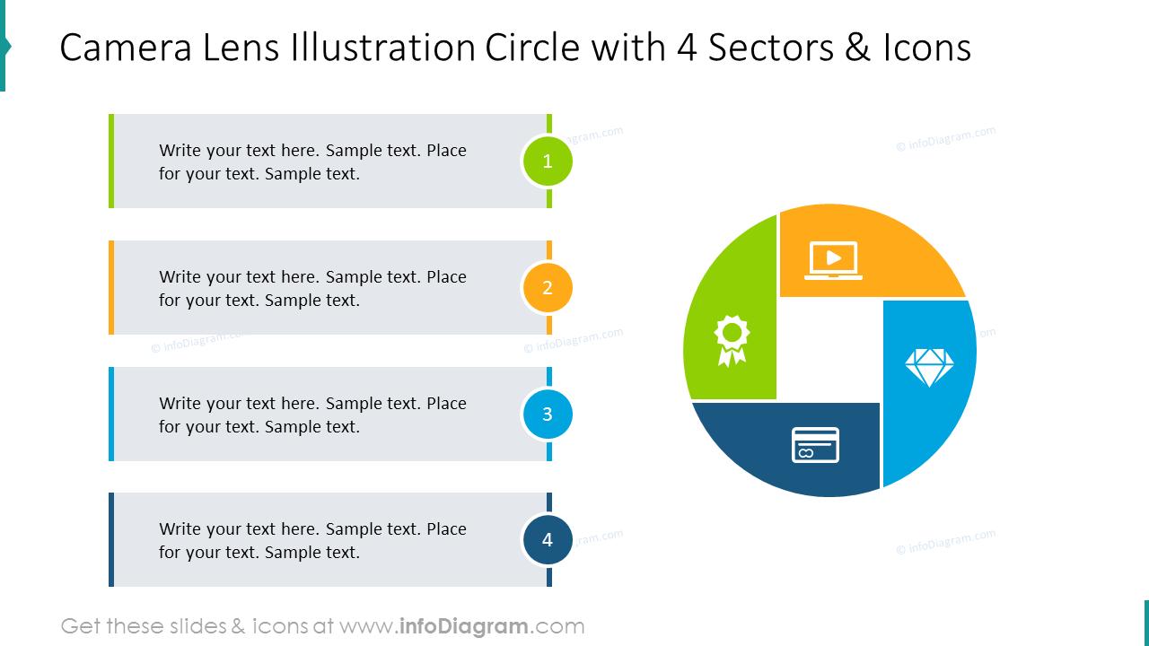 4 sectors camera lens diagram with description and flat icons