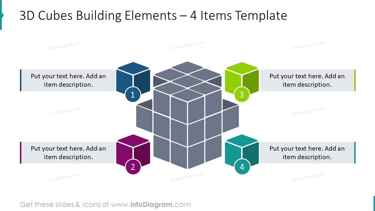 3D cubes building elements for 4 items