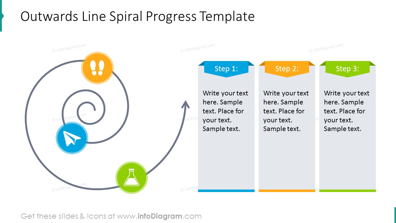 Spiral progress template with text placeholder