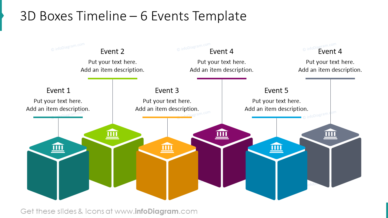 3D boxes timeline template for 6 events with text placeholders