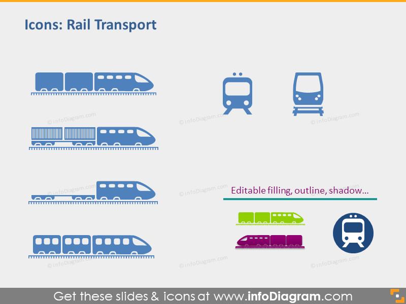Logistics icons train rail locomotive pins powerpoint symbol