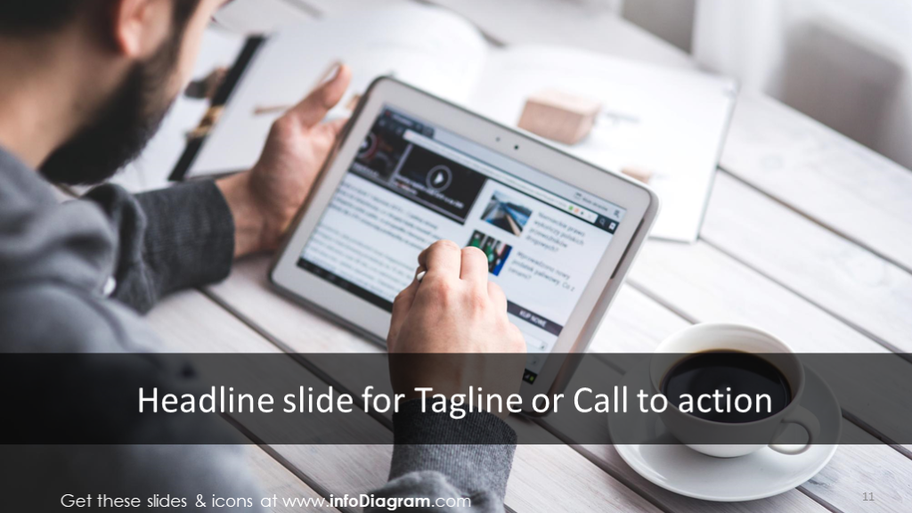 Headline slide with call to action tagline