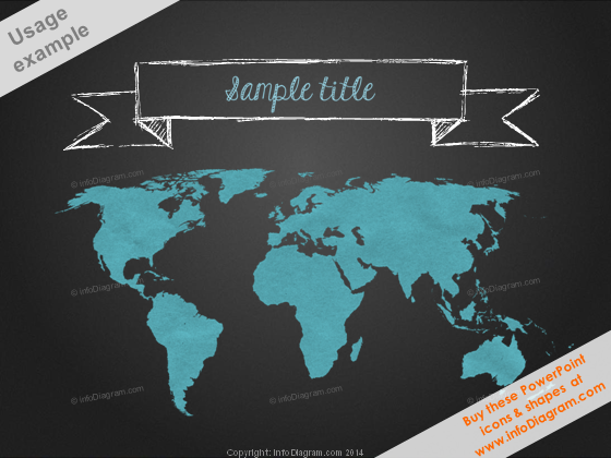 Blackboard World Map Sketch White Banner PPT clipart