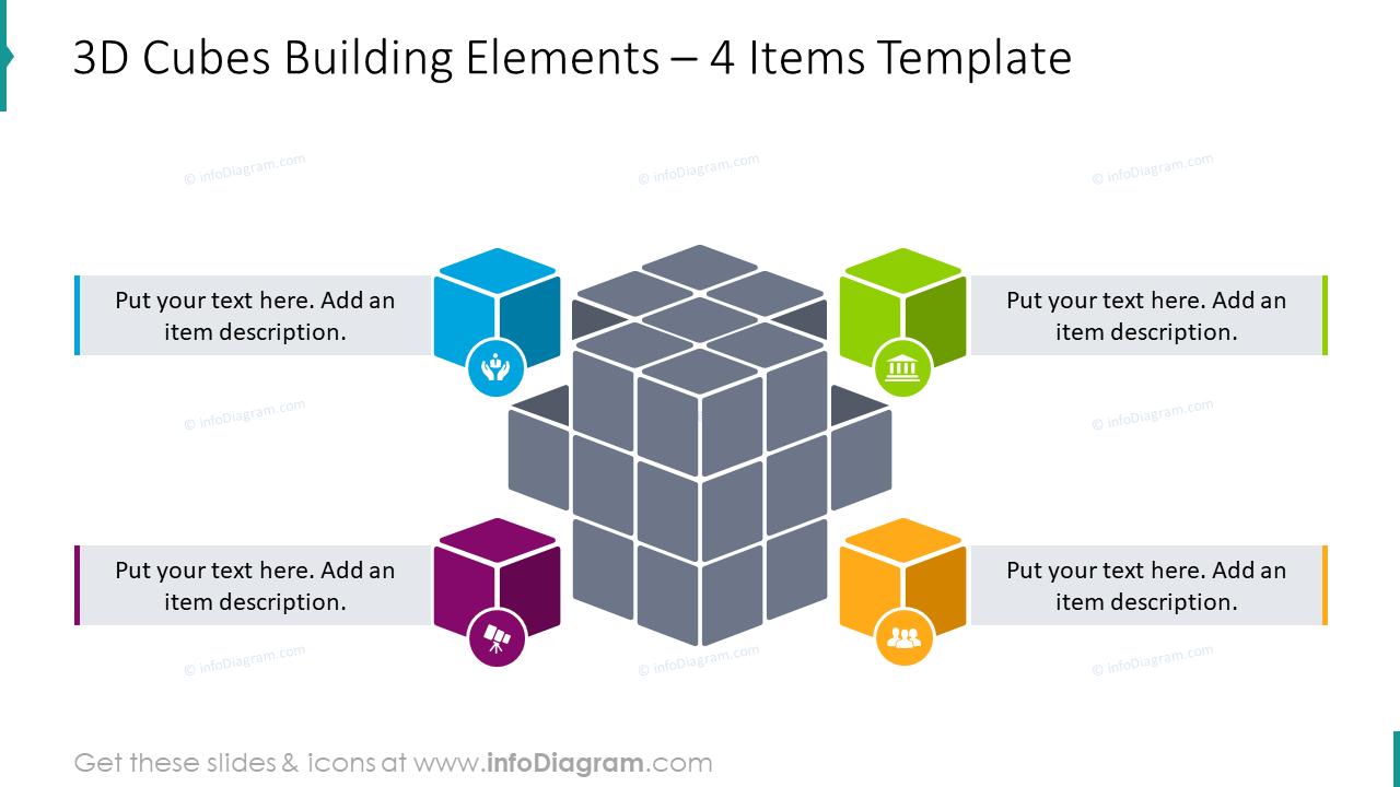 3D cubes building elements slide with description boxes