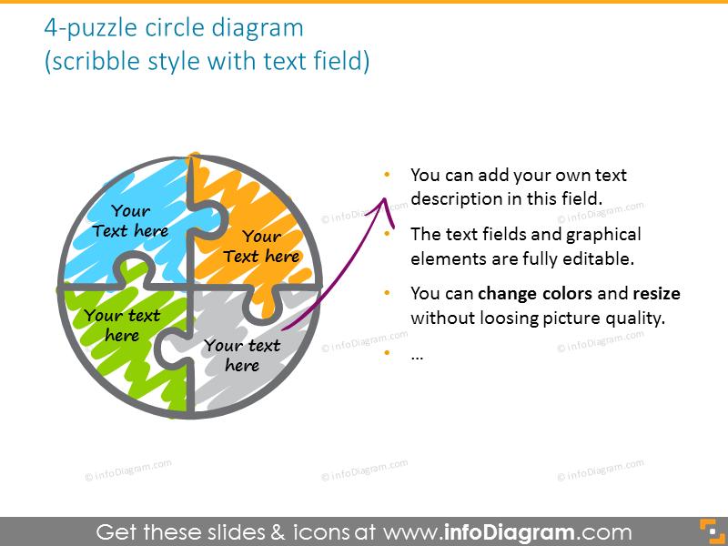puzzle circle quarter third diagram colors red grey ppt icon