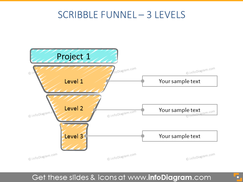 3 step scribble creative Funnel Infographics