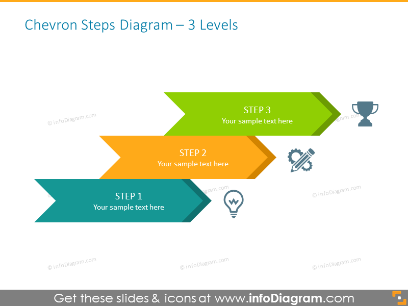 Chevron Steps Diagram Template for 3 Items
