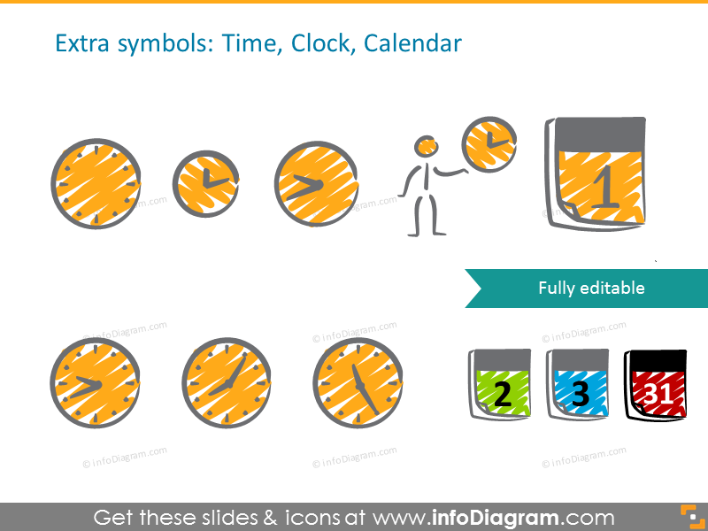 Time, clock, calendar icons