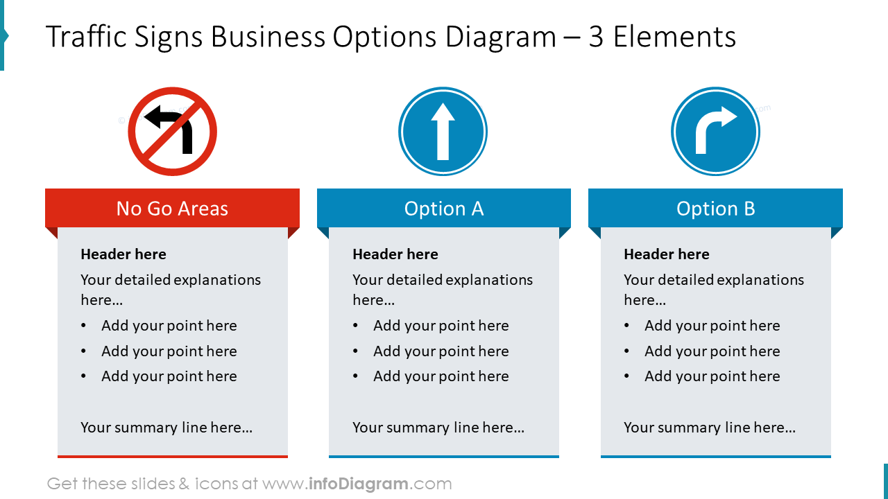 Traffic signs business options diagram