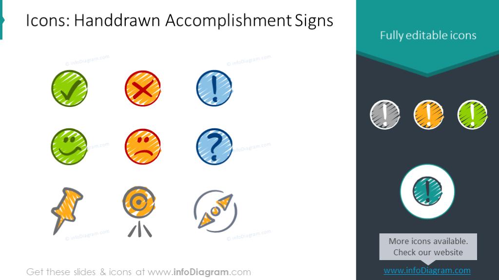 Hand drawn accomplishment signs