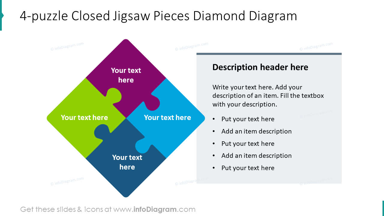 4-puzzle closed jigsaw pieces diamond diagram