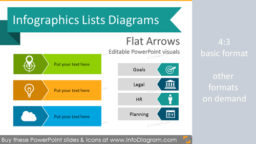 Infographics Arrows Lists Template (flat PPT Diagrams)