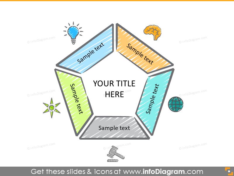 5 item diagram colorful scribble sun light ppt clipart
