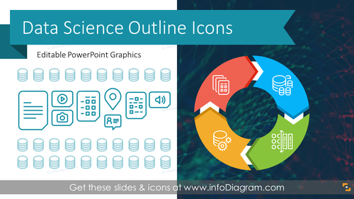 Data Science Analytics Outline Graphics Template (PPT Icons)