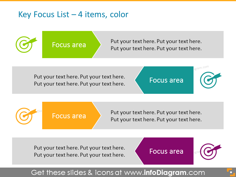 Arrows Smart Art in color for placing 4 items, with icons