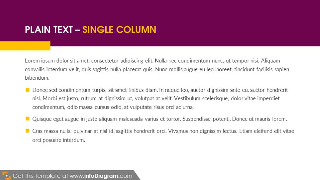 Plain text – single column