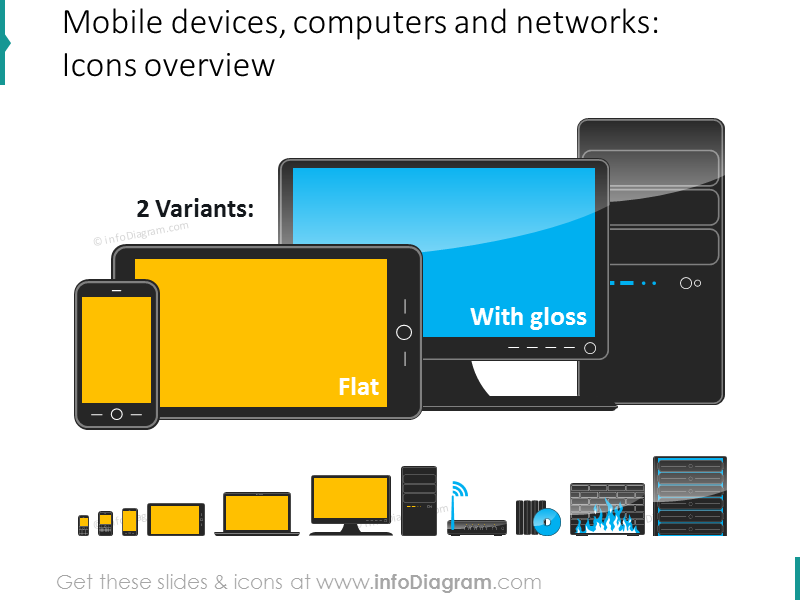 mobile devices computers network equipment ppt clipart icons