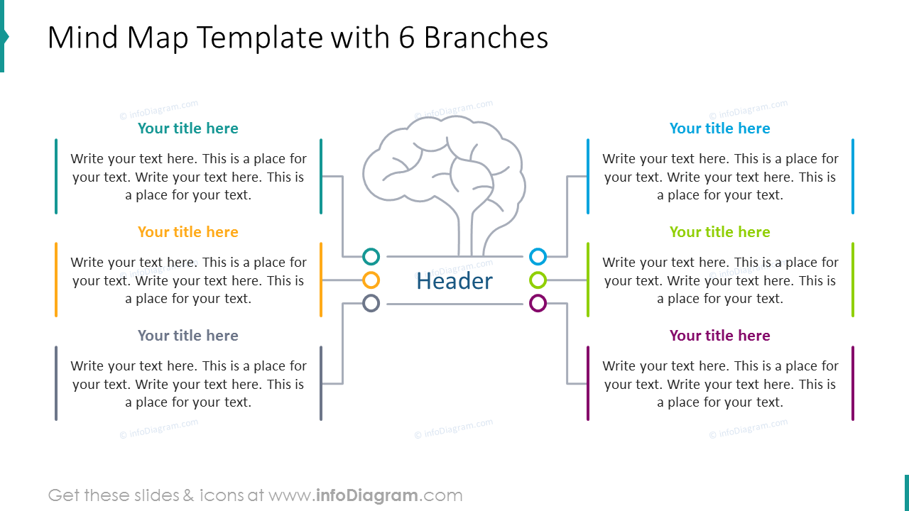 Mind map template with six branches