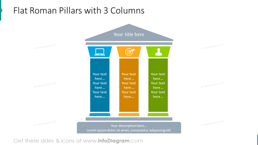 Flat roman pillars chart with 3 columns