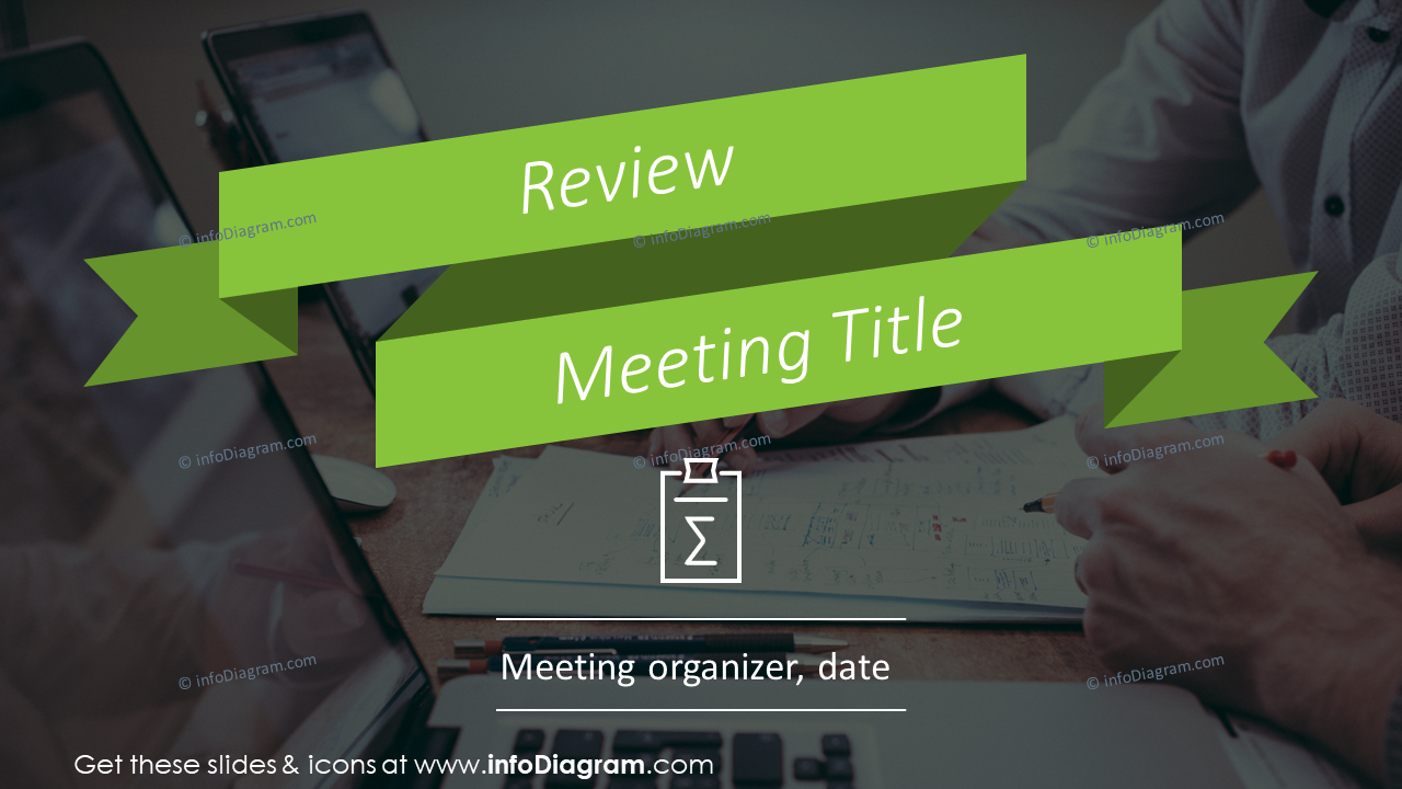 Review meeting title slide example with green ribbon stripe