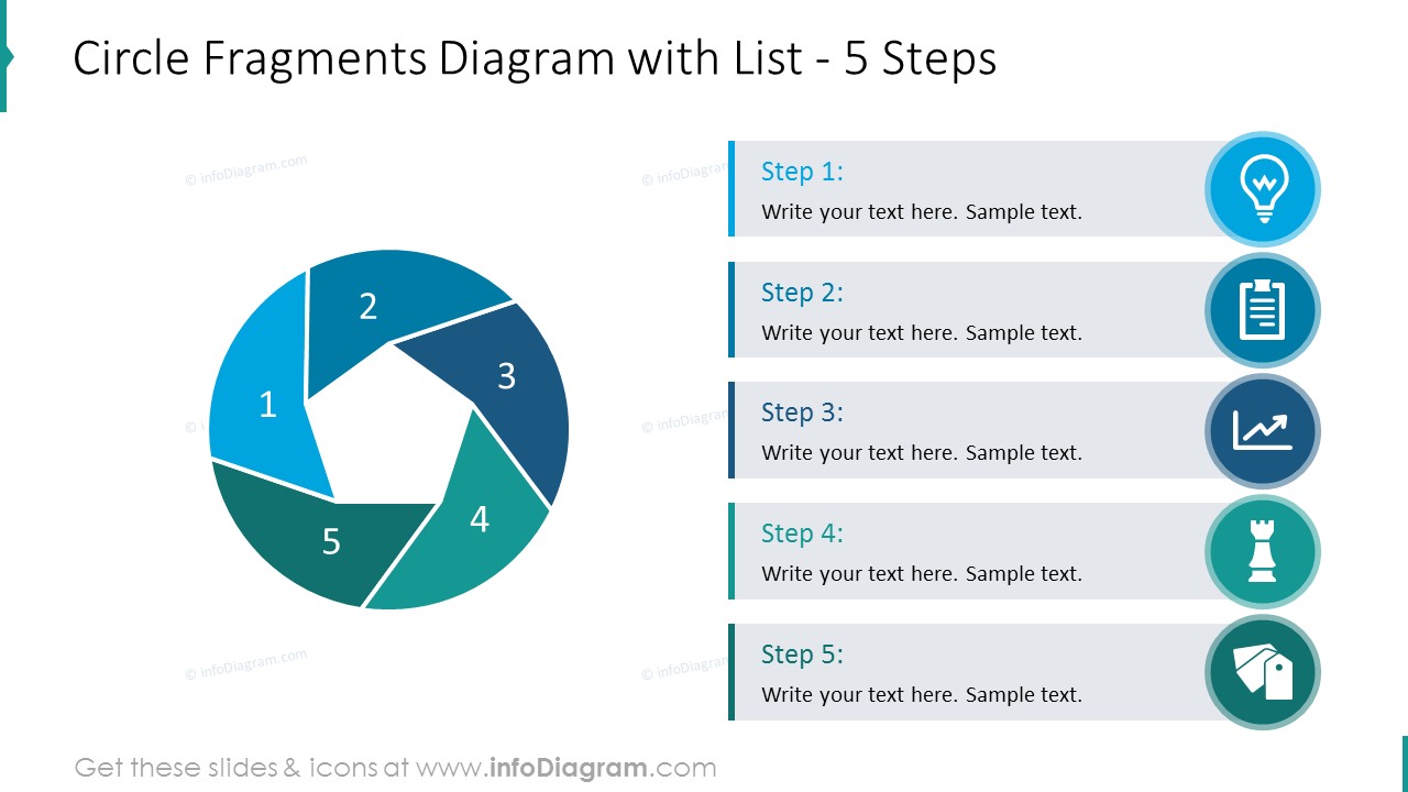Circle fragments diagram describing list of 5 steps