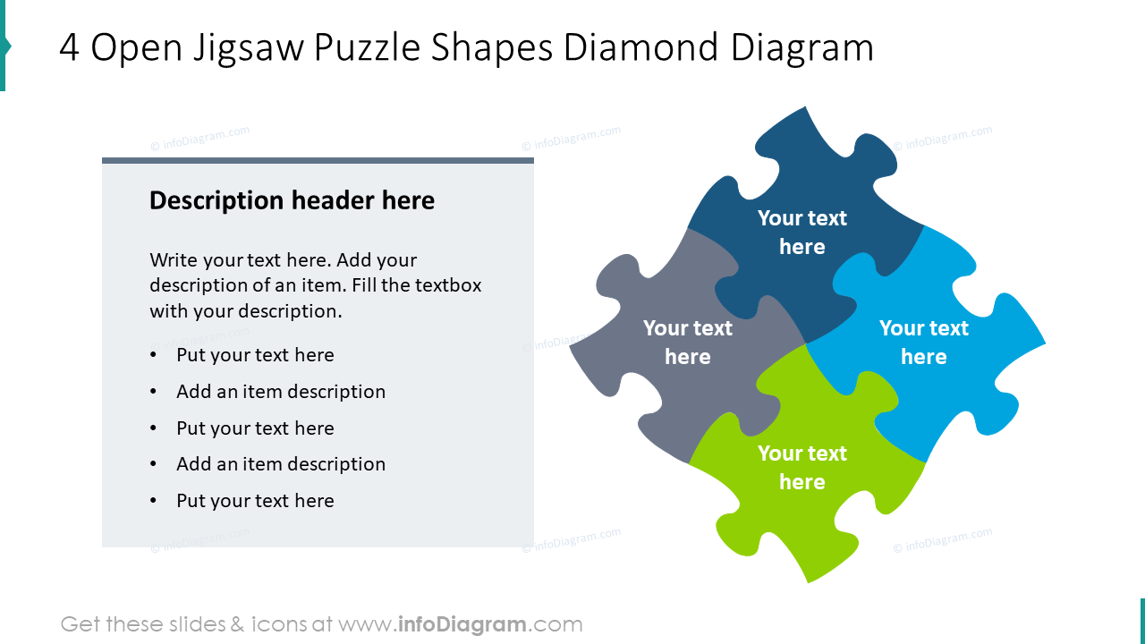 4 open jigsaw puzzle shapes diamond diagram