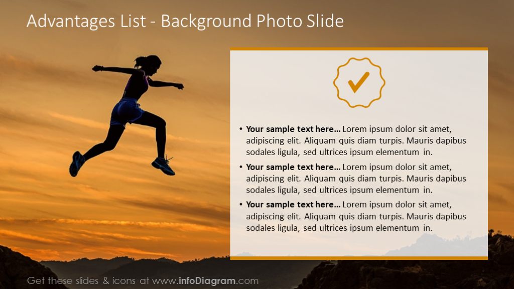 Advantages list illustrated with background photo